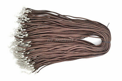 10pcs Brown Suede Leather String Necklace Cord Jewelry Making 47cm DIY FREE