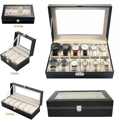 3/6/12 Faux Leather Watch Case Display Box Storage Jewellery Glass Top