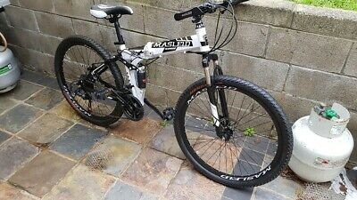 DUAL SUSPENSION MOUNTAIN Bike 21 Speed Foldable Bicycle Mens Bikes Whi and  Black