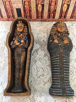 "Ancient Art Egyptian art King Tut mummy with sarcophagus 7"". Vintage"
