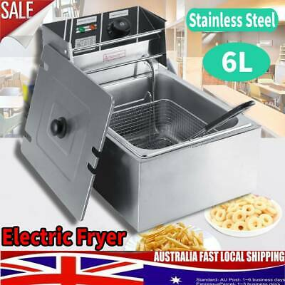 Stainless Steel Electric Deep Fryer 6L Oil Large Food Capacity Kitchen Cooker