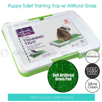 Indoor Pet Dog Puppy Grass Pad Toilet Training Tray Portable Loo Cleaning Mat