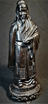 Antique Chinese Carved Black Resin Scholar Sage Statue Figure Vintage 1950s