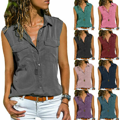 UK Plus Size Women Loose Sleeveless T Shirt Ladies Casual OL Blouse Buttons Tops