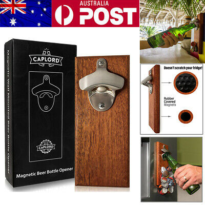 Personality Home Beer Wooden Wall Mount Bottle Cap Opener + Magnetic Cap Catcher