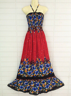 Womens Maxi Long Dress Summer Beach Casual Halter Smocked Rayon Red Floral S M L