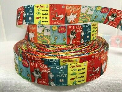 "Dr Suess -Horton -The cat in the Hat Grosgrain Ribbon 1"" wide - Sold by 2m Craft"