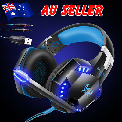 EACH 3.5mm Gaming Headset MIC LED Headphones for PC Laptop PS4 Xbox One 360 aw