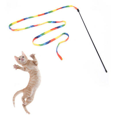 pet cats rainbow cloth stick toy interactive toys pet jump training cute Xmas ZW