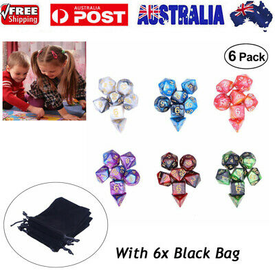 42Pcs 6Set Acrylic Polyhedral Dice + Bag For DND RPG MTG Role Playing Board Game