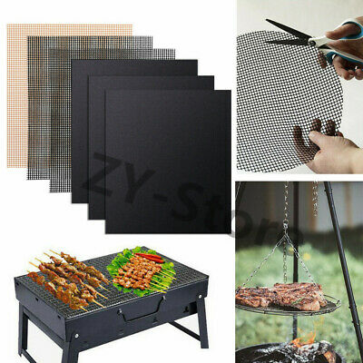 UK BBQ Grill Mesh Non-Stick Mat Reusable Sheet Resistant Cooking Barbecue Meat