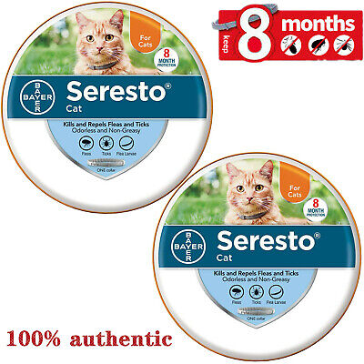 Bayer Seresto Flea and Tick Collar for Cats,harmless,authentic,tasteless--2-PACK