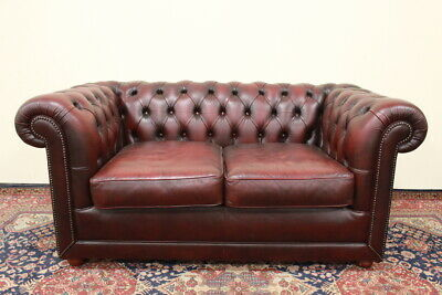 Divano 2 posti chesterfield chester club originale inglese pelle rosso bordeaux