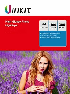 100Sheets 5x7 High Glossy Inkjet Paper Thick Photo Paper 127x178mm 260Gsm Uinkit