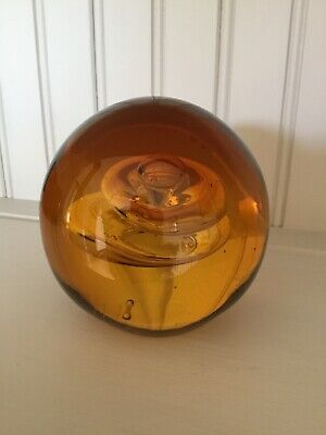 Large Glass Amber Paperweight 1.25 Kg