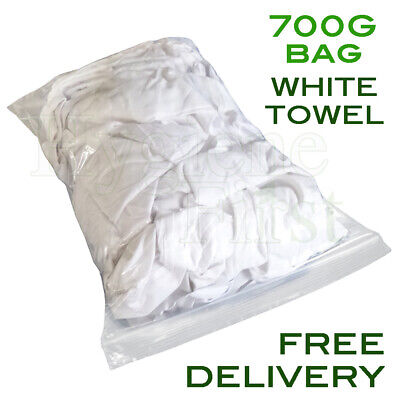 700g Bag of Rags White Terry Towel Wiper Garage Wiping Polishing Cloth Car