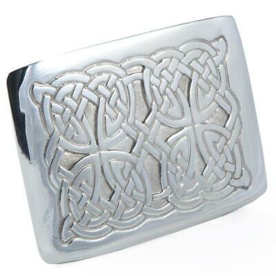 Cast Pewter Celtic Knot Four Dome Kilt Trews Belt Buckle Made In Scotland
