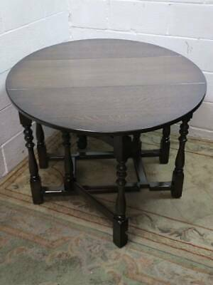 DARK OAK VENEER GATE LEG, DROP LEAF DINING TABLE With TURNED SUPPORTS