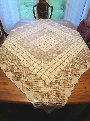 """Vintage Cream Italian Hand Knoted Filet Lace Tablecloth 49x50"""""""