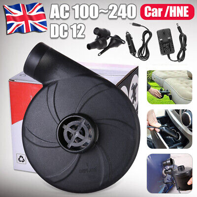 Mains Plug 240V/12V Electric Air Pump Inflatable Airbed Toys Inflator Camping Uk