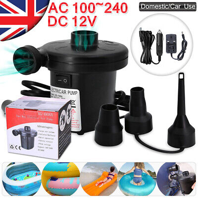 Uk 240V/12V Electric Air Pump Airbed Toys Inflate Inflatable Camping Mains Plug