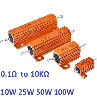 RX24 50W 100W Aluminum Metal Shell High Power Case Heatsink Resistor 5% 0.1Ω-1KΩ
