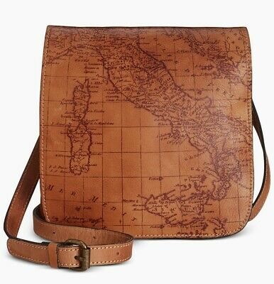 Patricia Nash Granada Map Print Leather Flap-over Cross Body Bag. NEW with tag