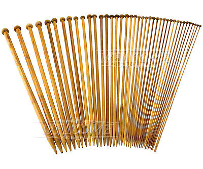 40 Single Pointed Bamboo Knitting Crafts Needles Set Mixed Sizes DIY Full Set