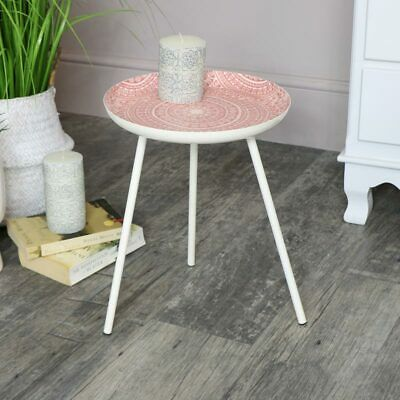 Round pink side table boho chic accent furniture home decor living room