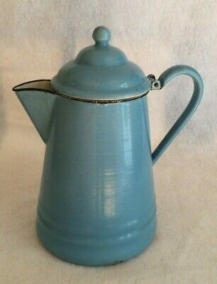Large Vintage Blue speckled Enamelware, Granite Ware Coffee Pot, Hinged Lid