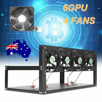 6GPU 4 Fans LED Air Mining Miner Rig Frame Case Holder Drawer ETH BTC Bitcoin AU