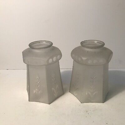 Antique matching pair frosted etched glass shades lamp fixture Art Deco 1940s
