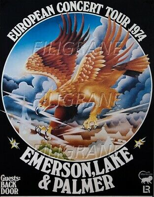 EMERSON LAKE & PALMER 1974 Rgjq-REPRODUCTION 50x75cm(*) d1 AFFICHE VINTAGE/RéTRO