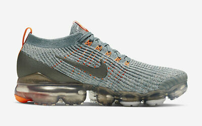 Nike Mens Air Vapormax Flyknit 3 Pewter Orange Aviator Grey Aj6900-003 Brandnew