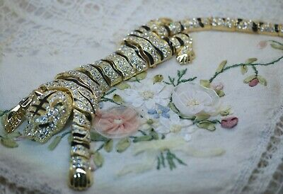 Large Jewellery Art Deco Tiger brooch crystal rhinestone silver and gold jewelry