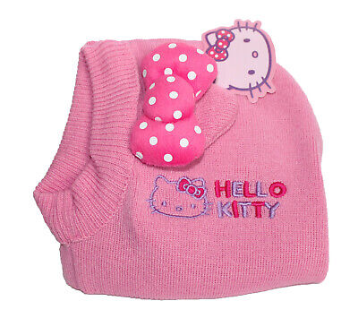 91221f862 HELLO KITTY KNITTED Beanie Winter Christmas Hat Gloves 2pc Set Pink ...