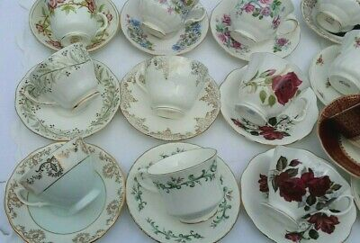 Job Lot Of 20 Pretty Mismatched and matched Vintage China Tea Cups & Saucers