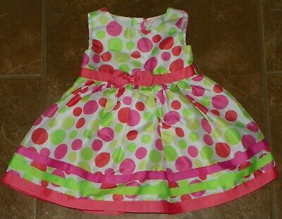 Girls GEORGE White Green Pink Coral Polka Dots Sleeveless DRESS 18 Months EASTER