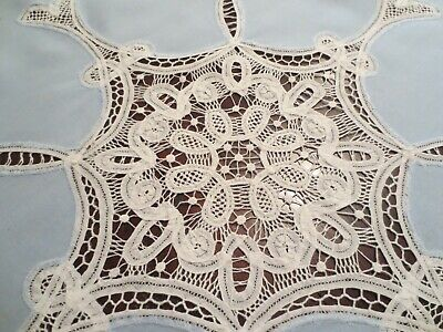 """Belgian Linen Tablecloth/Table Topper with Battenberg Lace 45"""" x 45"""""""