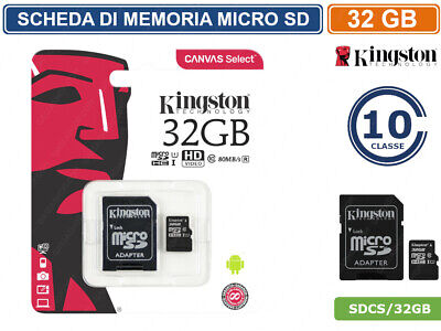 SCHEDA DI MEMORIA KINGSTON MEMORY CARD MICRO SD UHS-I CLASSE 10 80MB/s 32GB