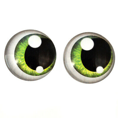 Glass Eyes: Pair of 25mm Green Anime Human Art Doll Cabochons Jewelry Sculpture