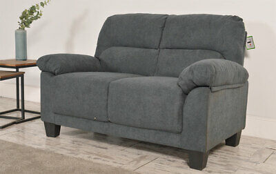 Clearance - Austin Small Slate Grey Plush Fabric 2 Seater Sofa - T6945