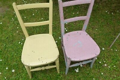 Vintage Victorian child`s small painted school chairs pink & yellow x 2