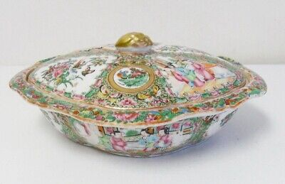 Antique 19th Century Chinese Rose Medallion Porcelain Oval Covered Entree Dish