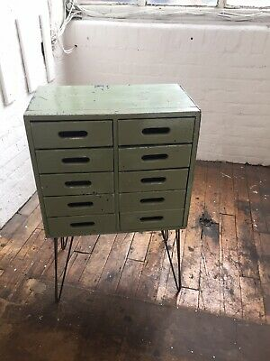 Vintage Retro School Art Drawers Upcycled Mid Century Industrial on Hairpin Legs