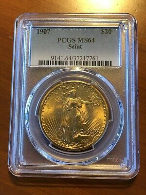 1907 $20 Saint Gaudens Gold Double Eagle - PCGS MS 64