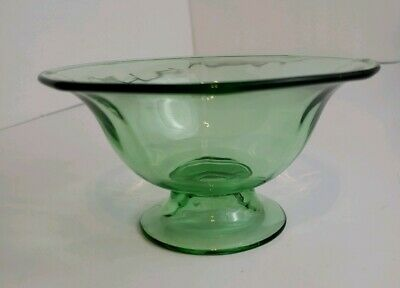"""Antique 1930's Green URANIUM DEPRESSION GLASS Footed Bowl Candy Dish - 2 7/8"""" H"""