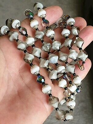 Vintage Art Deco Jewellery Beautiful Crafted Glass Crystal Bead Silver Necklace