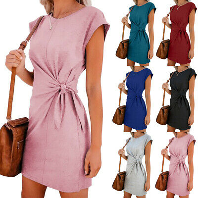 UK Womens Summer Short Sleeve Mini T Shirt Dress Ladies Casual Holiday Dresses