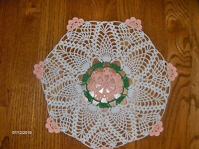 """Vintage Hand Made Hand Crochet Doily White with Green & Peach Approx. 12"""" -EUC"""
